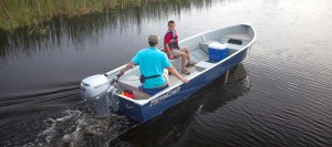 Man and son on boat